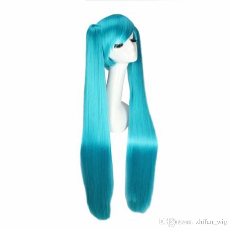 ZF Hatsune Miku cosplay peruca 120 CM azul cores Bunches cauda dupla Lolita Unisex Costume Home Party
