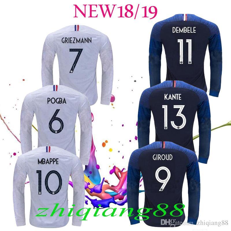 45f6b36bf0 Compre 2018 Manga Longa França Camisas De Futebol 7 GRIEZMANN 6 POGBA 10  MBAPPE 11 DEMBELE KANTE UMTITI Personalizar Azul Camisa De Futebol Branco 2  ...