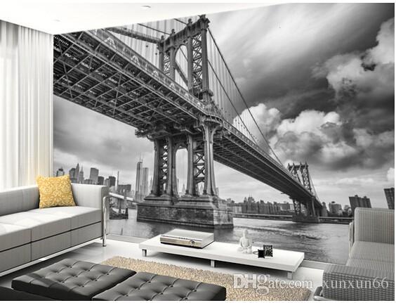 Papel de parede personalizado foto preto e branco, New York Bridge, grande mural em 3D para sofá cozinha Cafe tv background vinil papel de parede