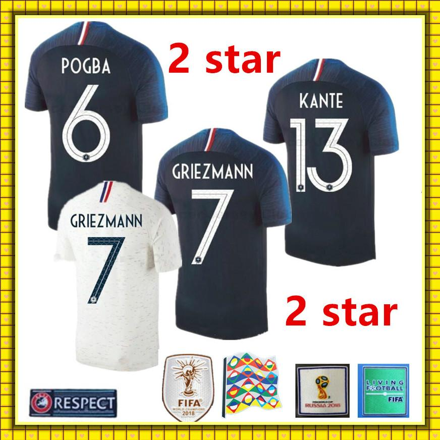 ... top quality 2018 2019 fr soccer jersey world cup champions 2 stars  mbappe giroud griezmann pogba 86eadb1ec