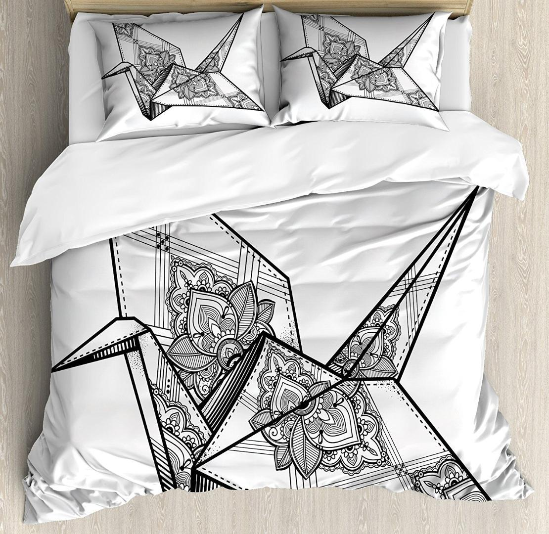 Art Duvet Cover Set Origami Style Crane Bird Design Hand Drawn Monochrome  Far East Asia Folklore Motif Bedding Sets Comforter Sets Cheap Cheap  Comforter Set ...