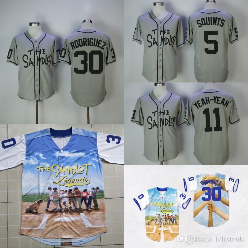 2019 The Sandlot Benny  The Jet  Rodriguez 30 Baseball Jersey 5 Michael   Squints  Palledorous 11 Alan Yeah Yeah McClennan Movie Stiched Jerseys  From ... 159075097