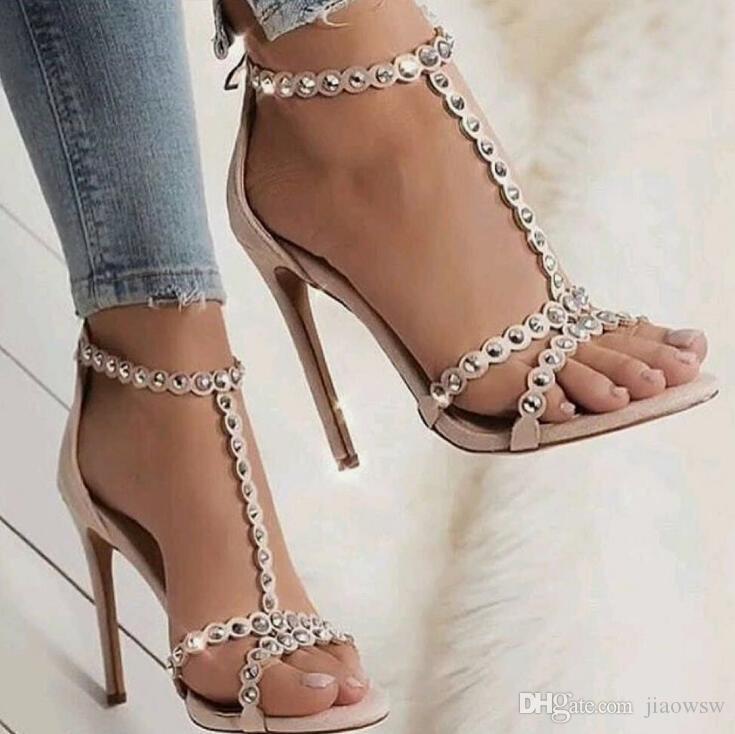 616868f276e7 New roman style studded high heels sexy word with buckle jpg 735x734 Roman  style heels