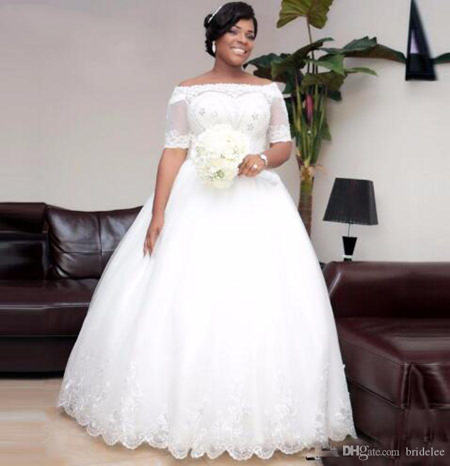 African Short Sleeve Floor Length Africa Wedding Dresses 2019 Ball Gown Lace Up Crystal Beading Lace Appliques Bridal Wedding Gowns