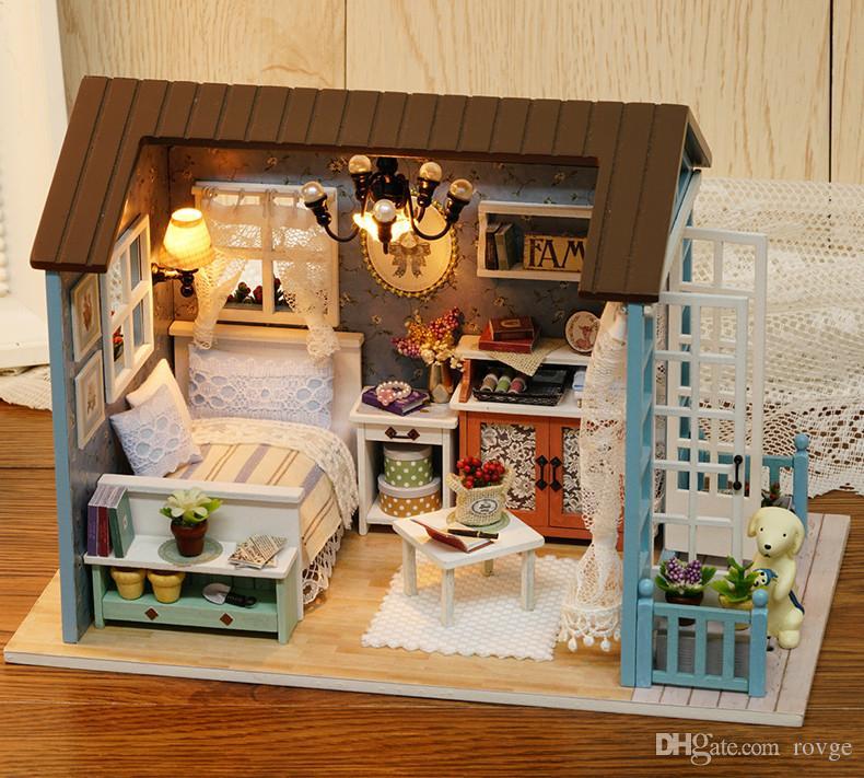 Creative Art House Divertente Boutique Giocattoli Artigianato in legno Scatola musicale fai da te Cottage Ragazzi Ragazze Regalo di compleanno