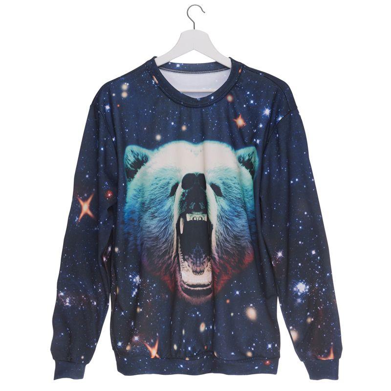 db8277cbd627 2019 Women Sweatshirt Galaxy Grizzly 3D Full Print Girl Free Size Stretchy  Casual Hoodies Lady Long Sleeves Tops Digital Sweatshirts GL36724 From  Joybeauty