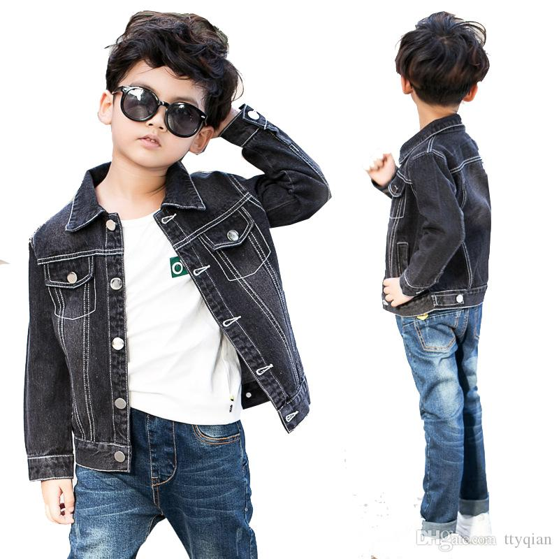 New 2018 Children Kids Boys Spring Black Long Sleeve Denim Jacket