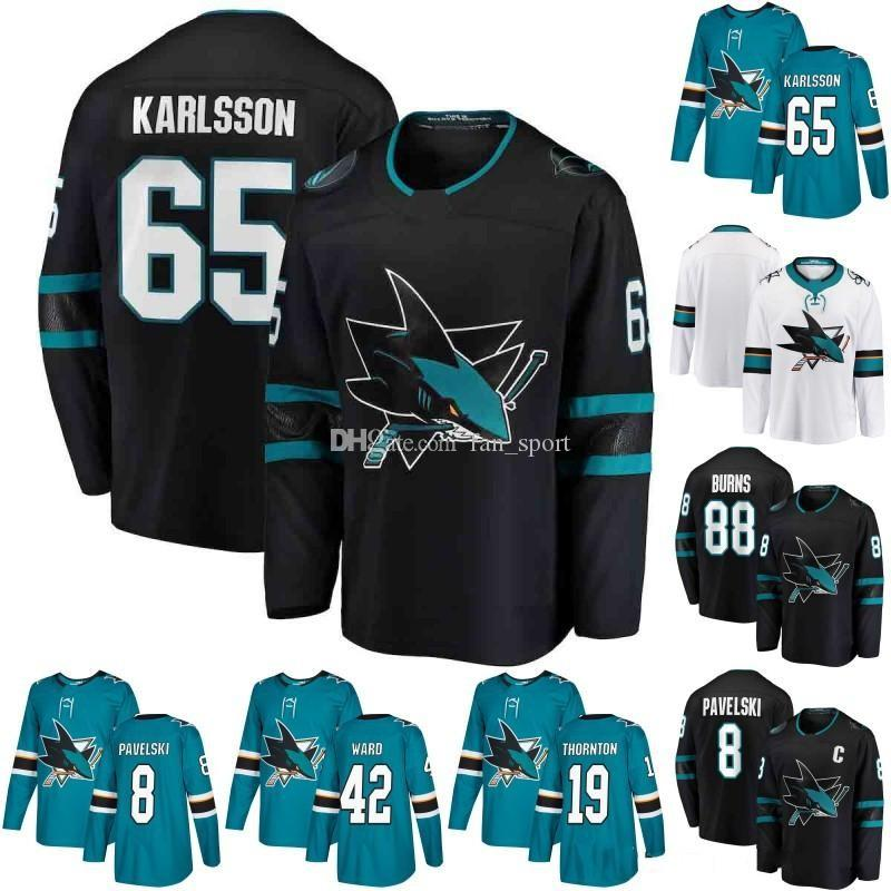 2019 65 Erik Karlsson 88 Brent Burns Jersey 39 Logan Couture San Jose Sharks  8 Joe Pavelski 19 Joe Thornton 9 Evander Kane Ice Hockey Jersey From  Fan sport 2b46cef7c