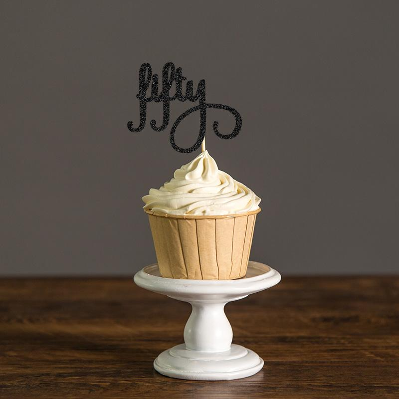 Gold/Silver/Black Glitter Script Fifty Cupcake Toppers Picks,50th Birthday Party Favors Decorations,Fifty Birthday Supplies