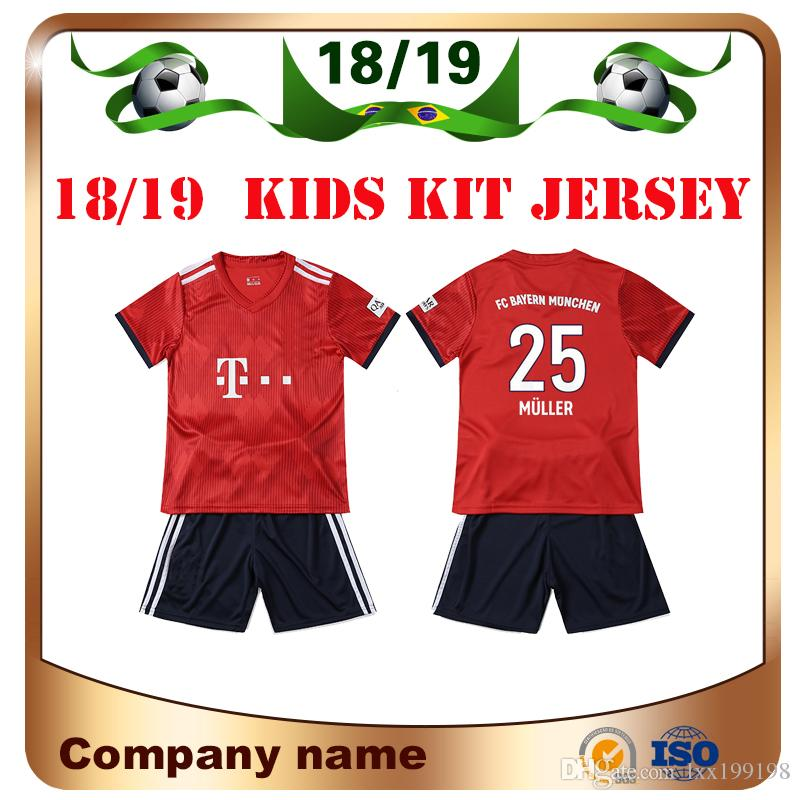 18 19 bayern kids kit soccer jersey 2019 home red 25 muller 11 james soccer shirts lewandowski robbe