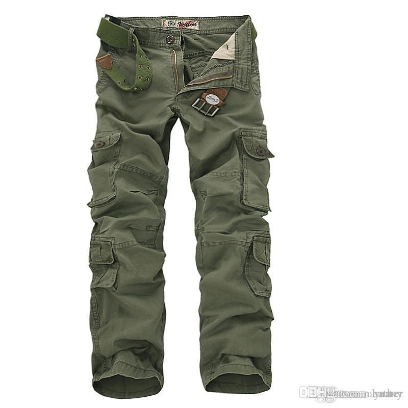 61549a01fc Großhandel Großhandelsmänner Workout Style Multi Pocket Cargo Pants Combat  Casual Baumwolle Lose Lange Gerade Hose Plus Size Slim Fit Von Yerter, ...