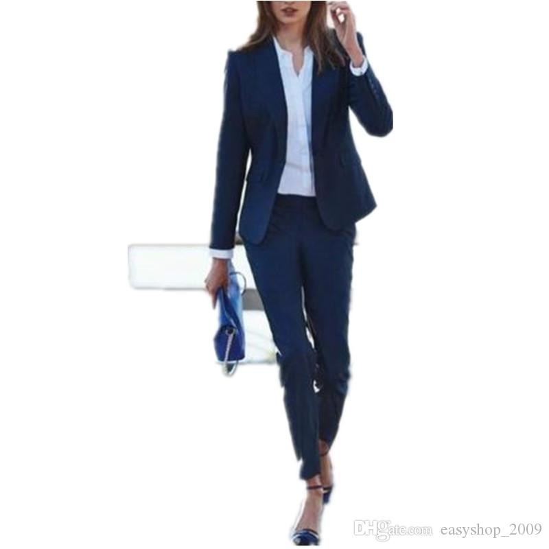 Navy Women Ladies Business Office Tuxedos Jacket Pants Work Wear