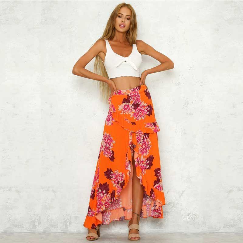 6d3f5c969 Naranja estampado floral faldas largas mujeres Verano volante playa bohemia  fiesta maxi falda casual playa asimétrica falda Boho Chic New Faldas