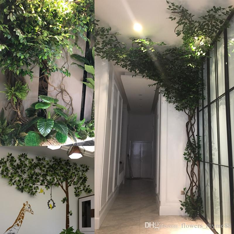 2019 Artificial Plants Wall Hanging Green Leaves Fake Banyan Tree Leaf Branch Home Decor Flower Wedding Backdrop Real Touch Tropical From