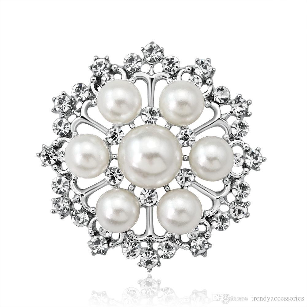 Rhinestone Brooch Crystal Pearl Brooch Gold for Wedding Bouquet Cake Decoration Hair Comb Shoe Clip DIY Supply