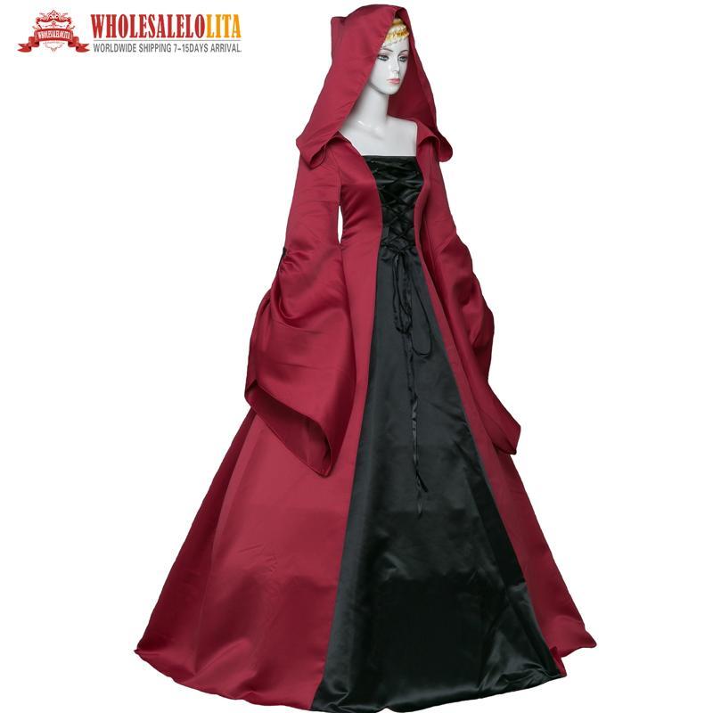 dc0d00835f3 Compre Vestido Con Capucha Y Vestido Victoriano Gótico Rojo Y Negro De  Primera Calidad A  98.99 Del Beenling