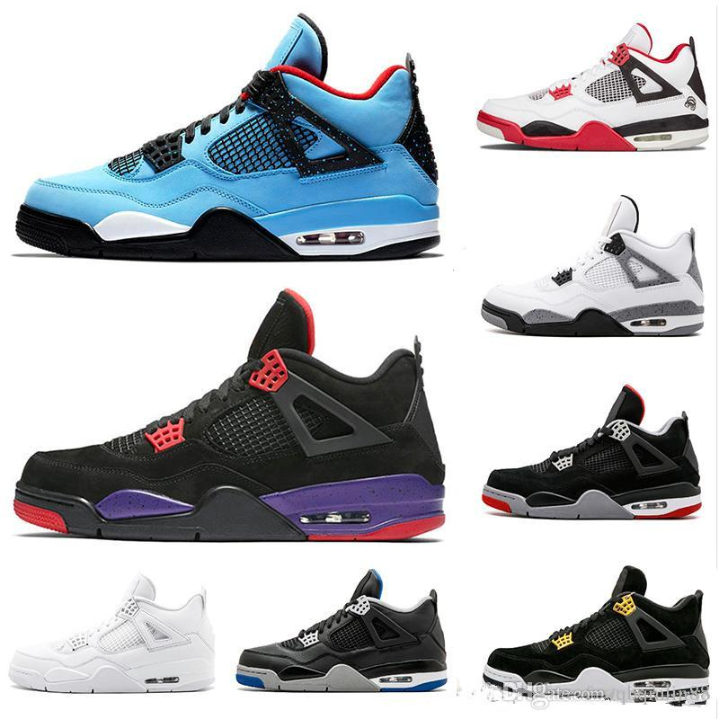 92507edffdaa80 With Box 4 4s Mens Basketball Shoes Cactus Jack Travis X Raptors ...