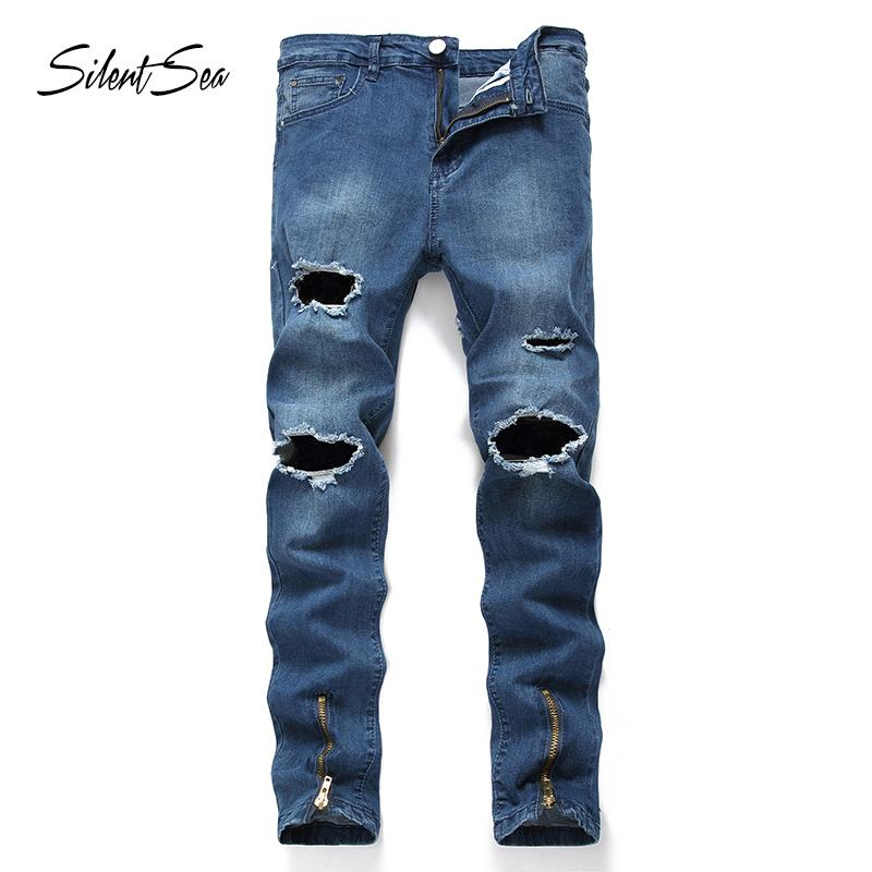 Silentsea Fashion Men's Jeans straight Skinny Fit Elastic Destroyed Ripped Jeans Broken Puns Pants Homme hole peans big size