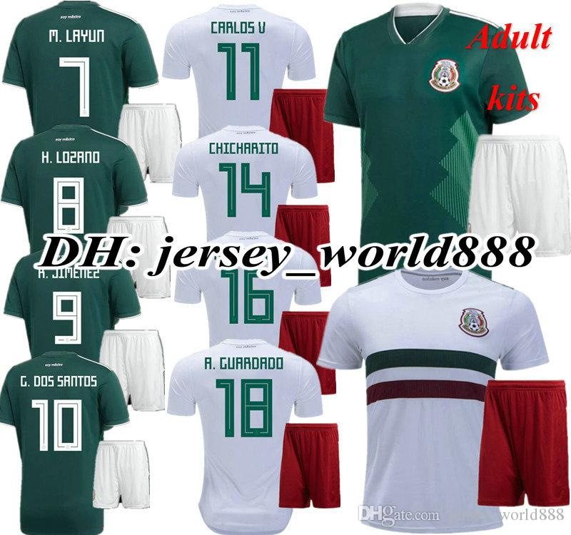 a1443593d 2019 Best Quality 2018 World Cup CHICHARITO Mexico Home Away Soccer Jersey  Kits A.GUARDADO CARLOS V G DOS SANTOS R.JIMENEZ 18 19 Football Shirts From  ...