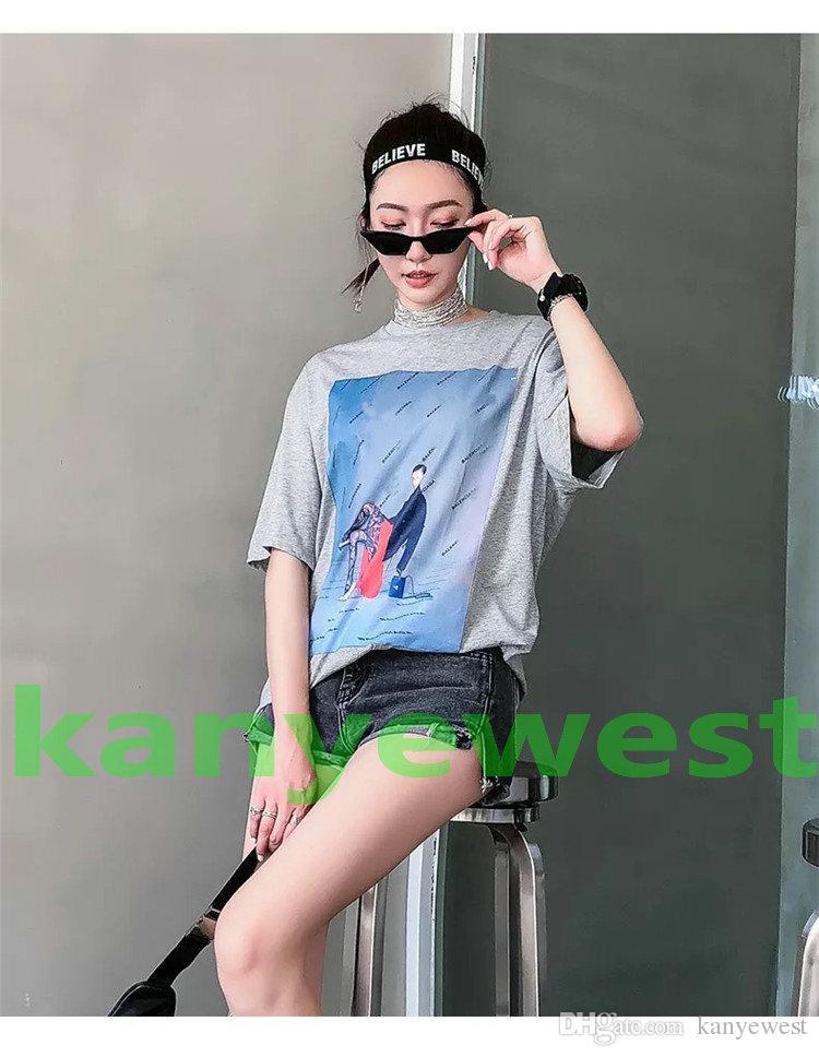 18SS ropa de marca de lujo de verano para hombre flojo de doble cara de impresión de caracteres camiseta de moda camiseta camisetas de diseño Casual tapas de algodón te