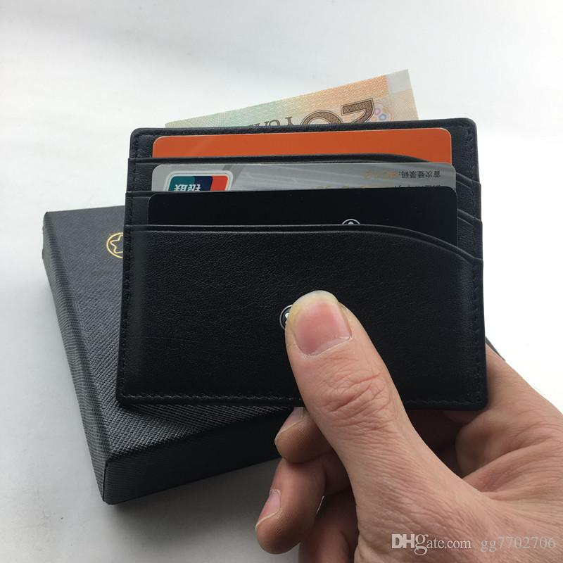 Classic Black Genuine Leather Credit Card Holder Wallet Luxury Brand MB ID Card Case for Man Fashion Thin Coin Purse Pocket Bag Slim Wallets