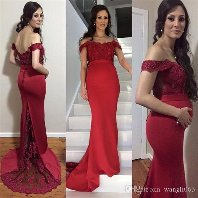 Sexy Mermaid Burgundy Prom Dresses for Pregnant Women Off the Shoulder Lace Satin Formal Evening Gowns Cheap Bridesmaid Dresses