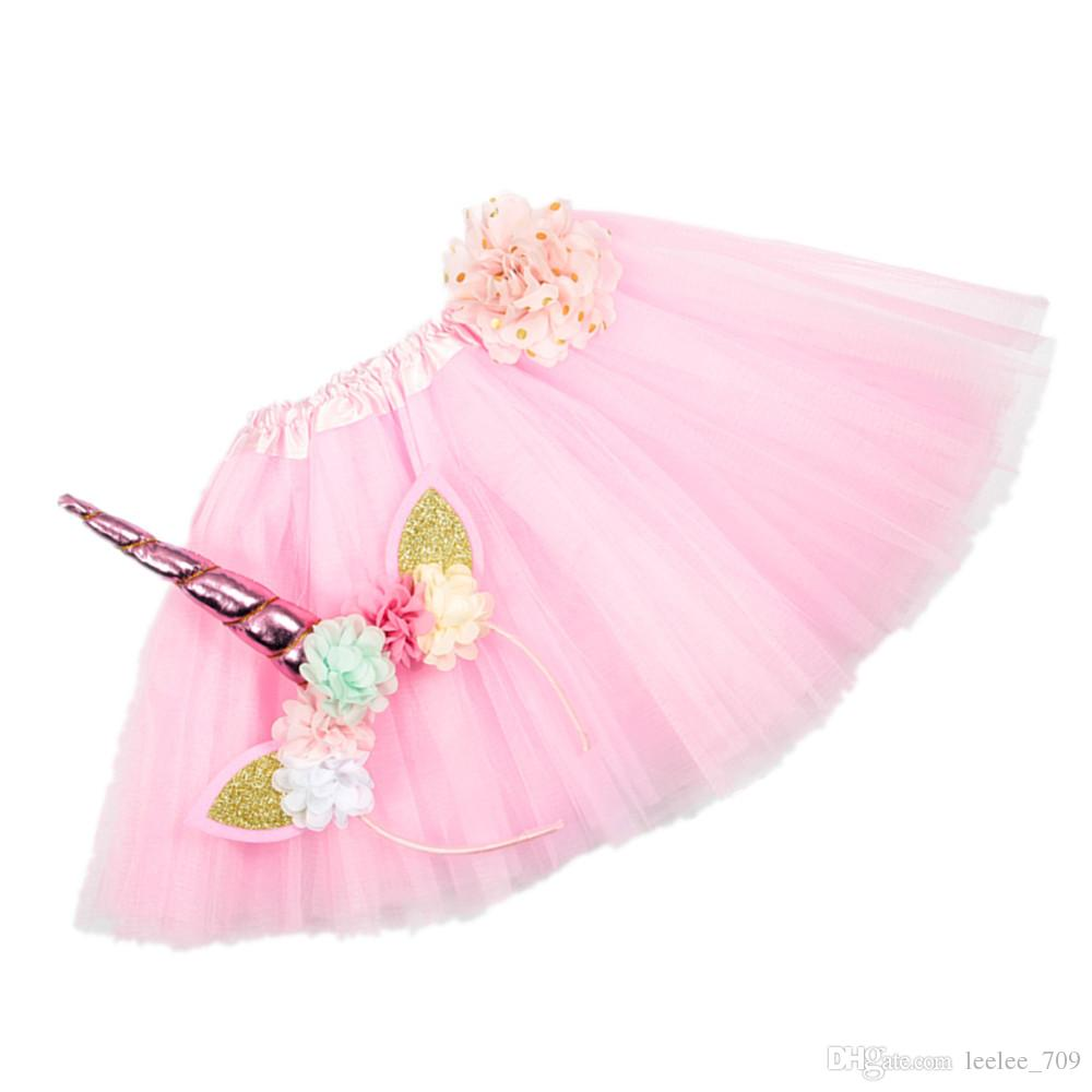 Girls INS Unicorn TUTU skirt +hair accessory sets 2018 New summer lace Bow flower decoration short skirt kids dress 1~6years B001