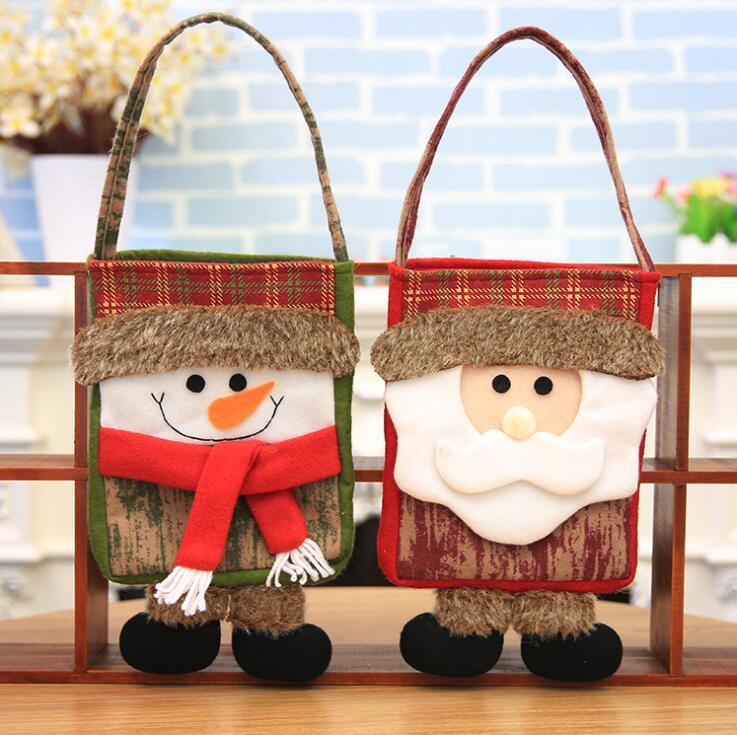 Xmas Tote Bag 2918cm Christmas Cartoon Candy Bags Snowman Santa Claus Gift Decoration OOA5402 18th Birthday Party Decorations