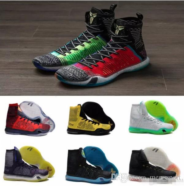 pretty nice a0af7 53103 What the kobe 10 High Multicolor Weaving Men s Basketball Shoes for KB 10s  Elite Wolf Grey Green USA AAA+ quality Sports Sneakers Size 40-46