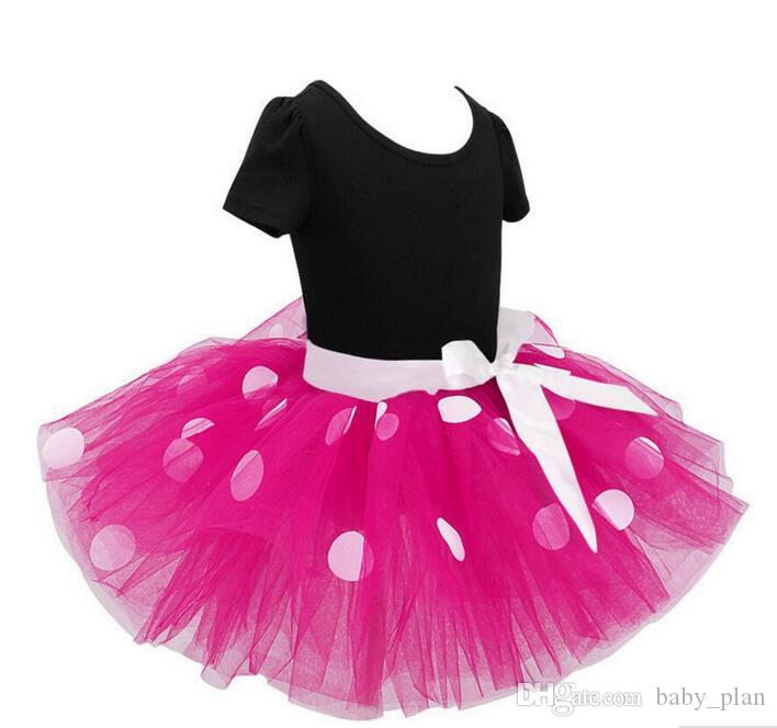 2018 Baby Ballet Dress Kids Clothing Polka Dot Bow Headband Set Clothes Kids Princess Party Costume Clothing Tutu Dress Suit