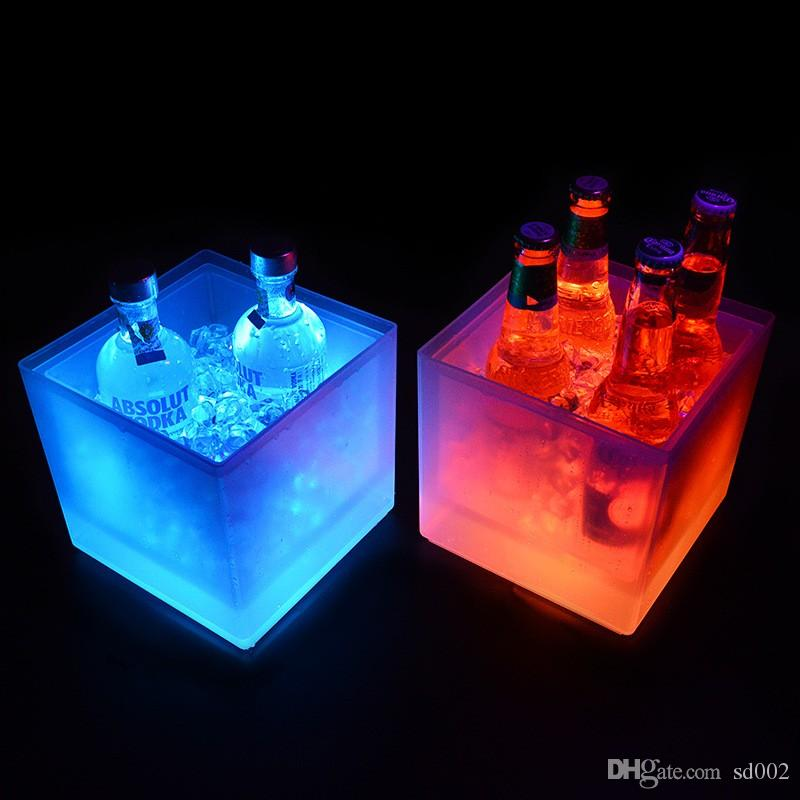 Creative Double Layer Ice Buckets 3.5 L Rectangle LED Bucket Plastic Colorful New Pattern Waterproof Champagne Bar Decor Tool 45kf XY