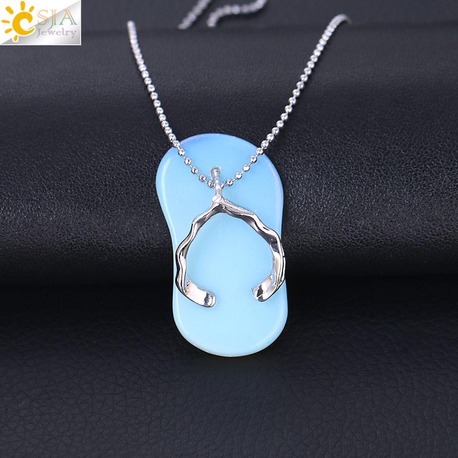 CSJA Natural Stone Lovely Slipper Shoe Pendant Necklace Women Black Onyx White Crystal Collar Charm Jewelry Bohemia Style Handicrafts F325 B