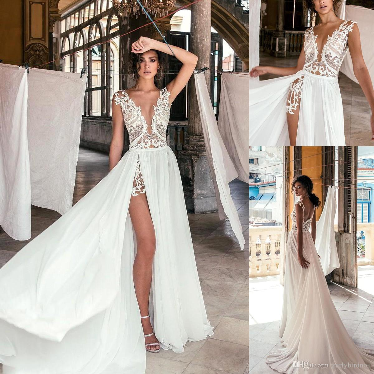 a1ecef0900 Discount Sexy Deep V Neck Beach Wedding Dresses Side High Slit Lace  Appliqued Illusion Bodice Sweep Train Bohomian Wedding Bridal Gowns BC0277  Latest Bridal ...