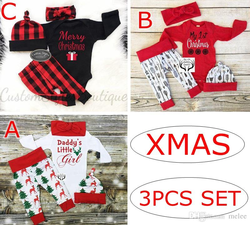 d4fa05234 Xmas Christmas Girls Elk Print Ins Baby Cotton ROMPERS   Kids ELF ...