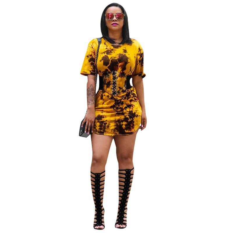 92e79bef90d9 Yellow Tie Dye Print Casual T Shirt Dresses Women Short Sleeve O Neck  Sheath Sundress Summer Blue Lace Up Waist Seal Robe Lace Summer Dress  Dresses Evening ...