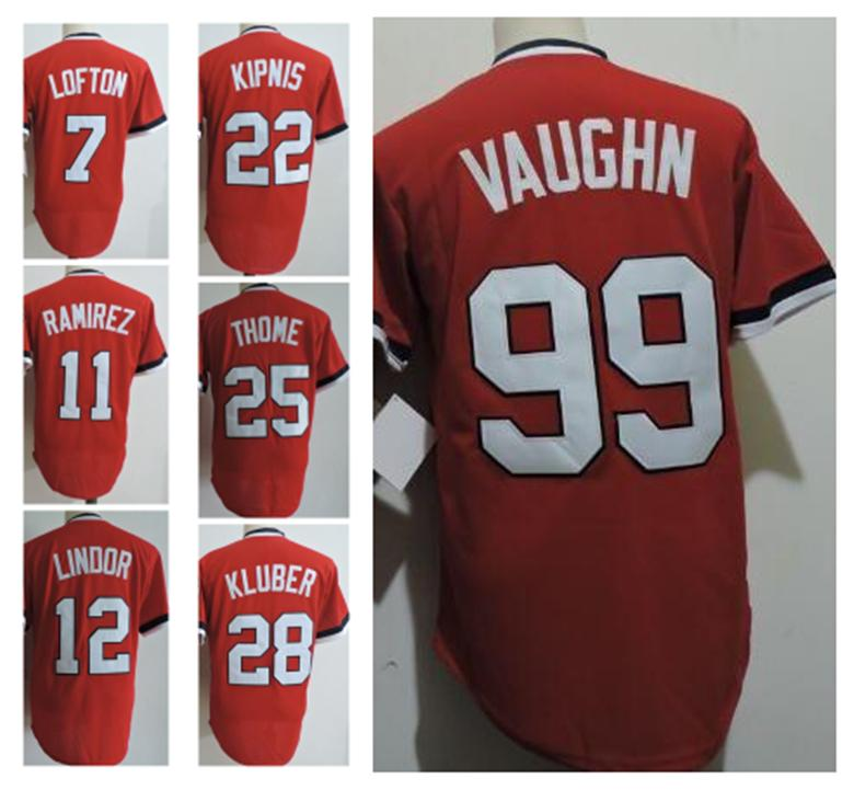 26483cc4c Vintage Cleveland Baseball Jersey 7 Kenny Lofton 99 Rick Vaughn 25 Jim  Thome 12 Lindor Kluber Red Pullover Jersey Stitched Online with  24.7 Piece  on ...