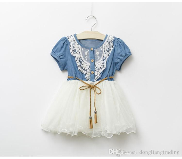 Summer Baby Dress Denim Girls dresses 2018 New Kids Lace Floral Girl Skirt Short Sleeve Princess Dress Baby Jeans Skirt Baby Clothes