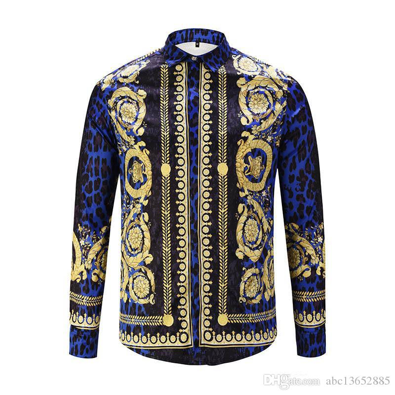 Spring Autumn winter Harajuku Medusa gold chain Dog Rose print shirts Fashion Retro floral sweater Men long sleeve tops shirts