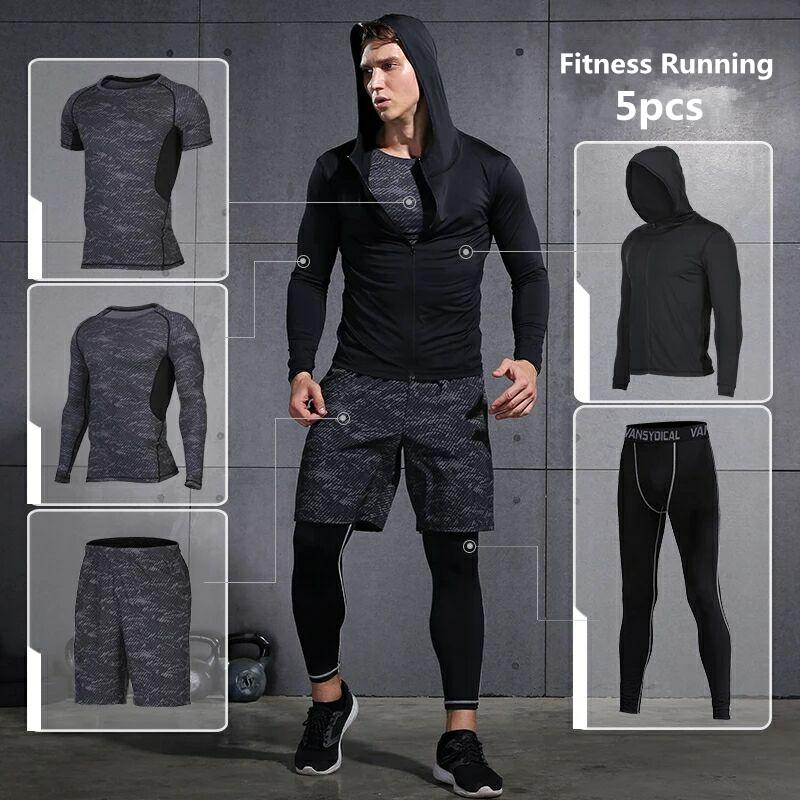 f090dc912b888 Compre Vansydical Sports Suits Men s Gym Clothes Running Compression Tights Conjunto  Fitness Workout Jogging Trajes Quick Dry Chándales Y1890402 A  25.79 ...