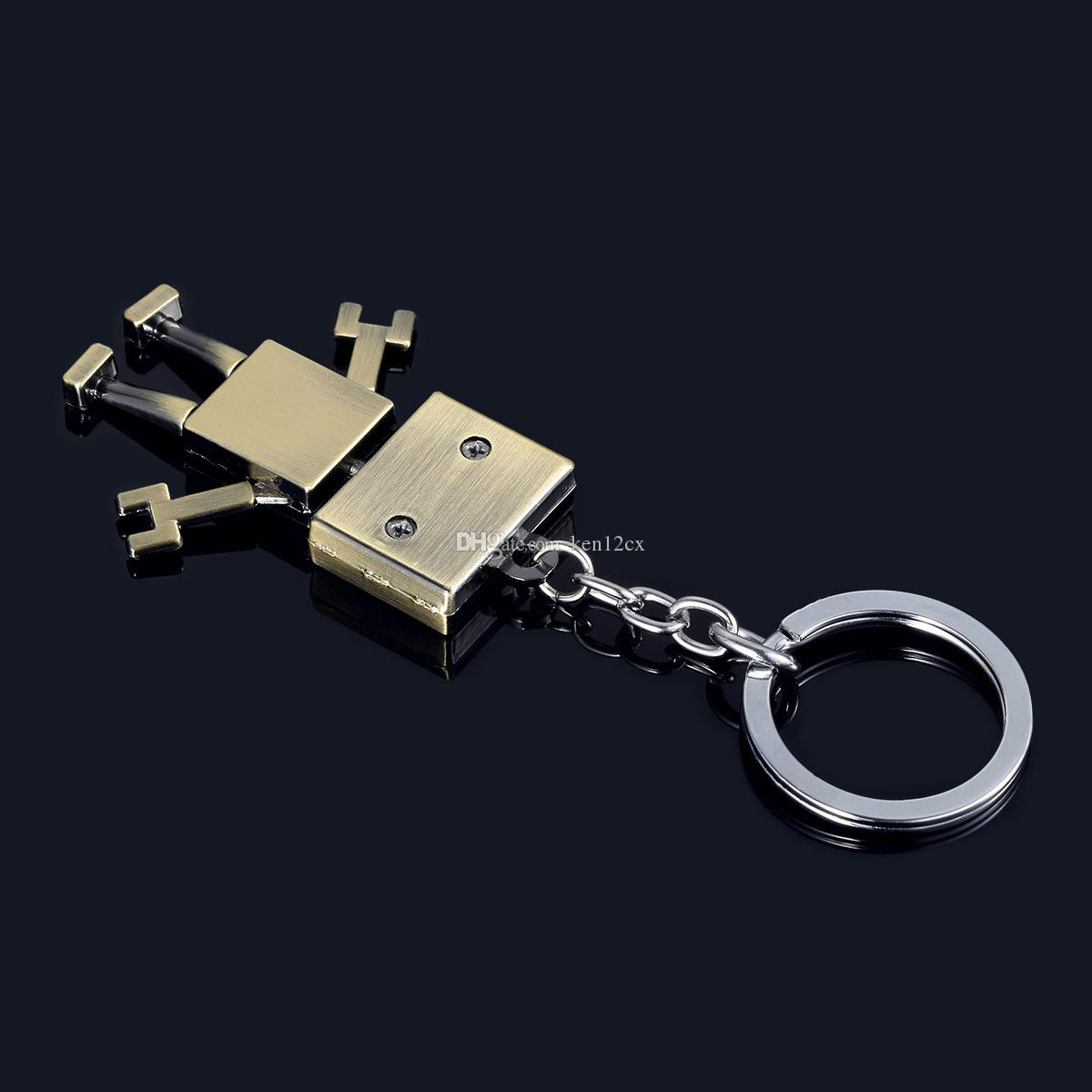 Men Children Accessory Cute Alloy Robot Keychain Creative Jewelry Key rings Car Key Chains kids Adults Chaveiro Birthday Present toys