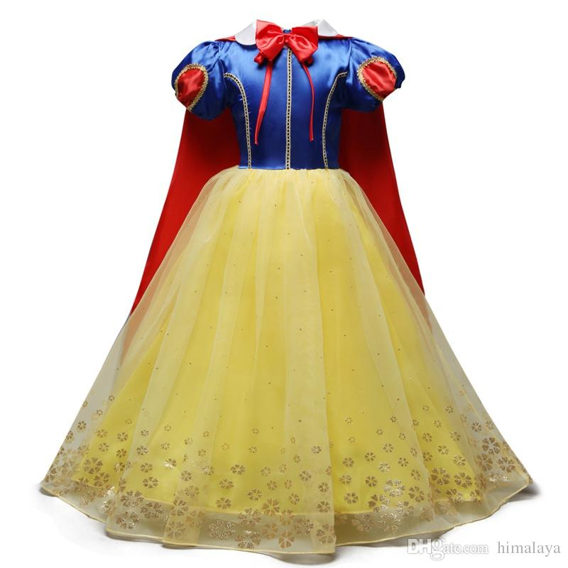 überlegen 2019 Girls Snow White Princess Dresses 2018 Kids Cosplay Clothes Children Elegant  Dress Toddler Autumn Halloween Dress With Cloak For 110 150cm From ...