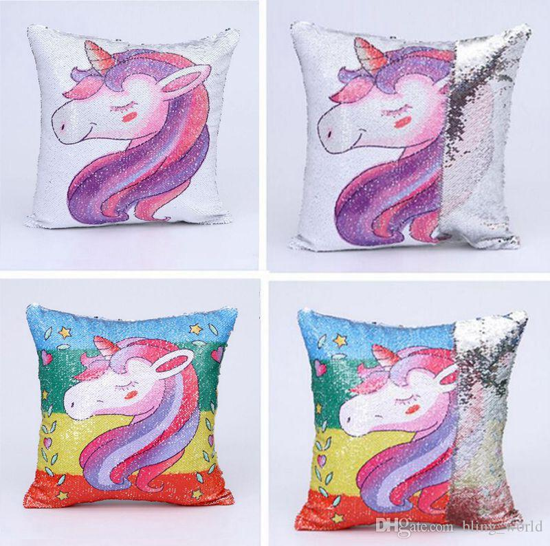 Unicorn Sequin Pillow Case Mermaid Cushion Cover Reversiable Sequin