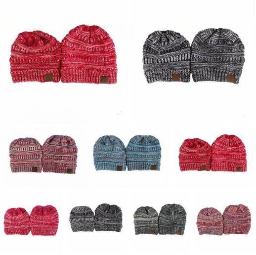 Großhandel Cc Hut Winter Mom Kinder Set Gestrickte Stretch Hüte Hohe ...