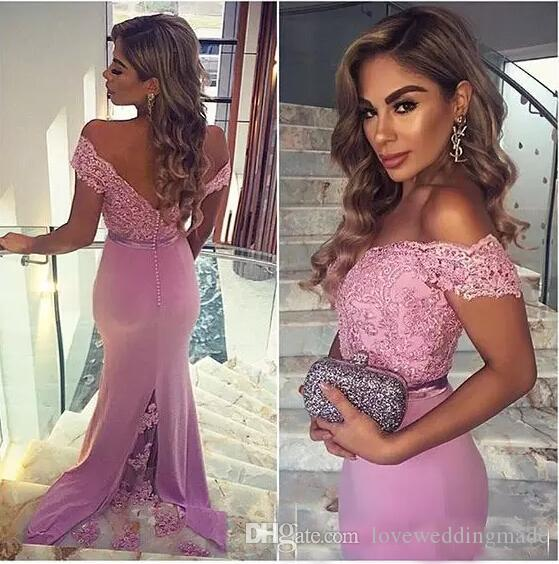 2018 Hot Sale Purple&Pink Off Shoulder Mermaid Bridesmaid Dresses Lace Beads Chiffon Long Party Prom Gowns Cheap Elegant