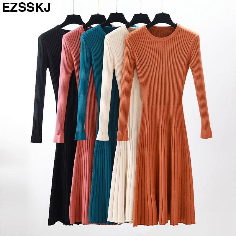 04884c3229b 2018 Long Sleeve OL Long O-neck Sweater Dress Women Autumn Winter ...