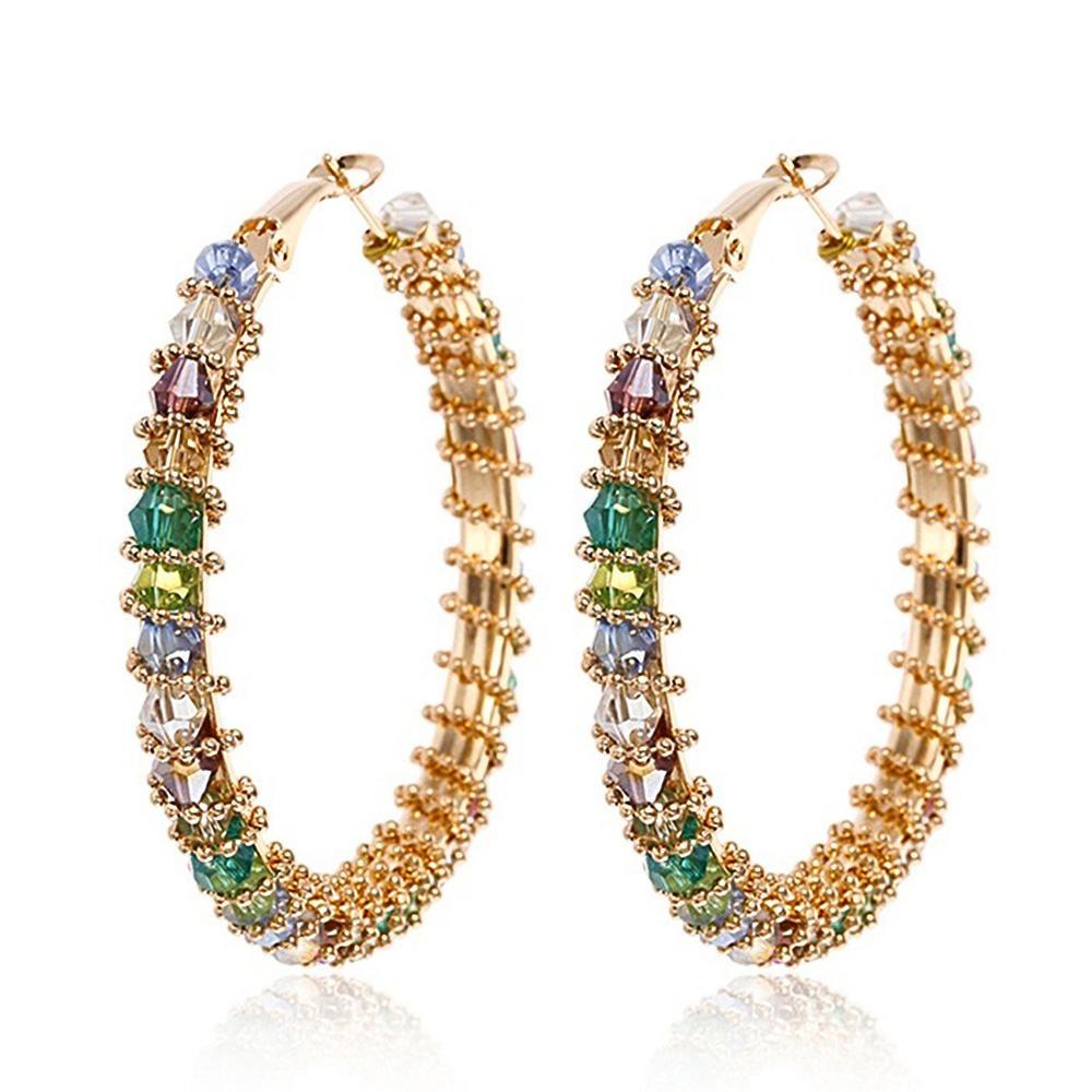 TIESET Amarelo Banhado A Ouro Zircão Brinco de Argola Multicolor Gemstone Rodada Diamante Dangler jóias Brinco Frete Grátis