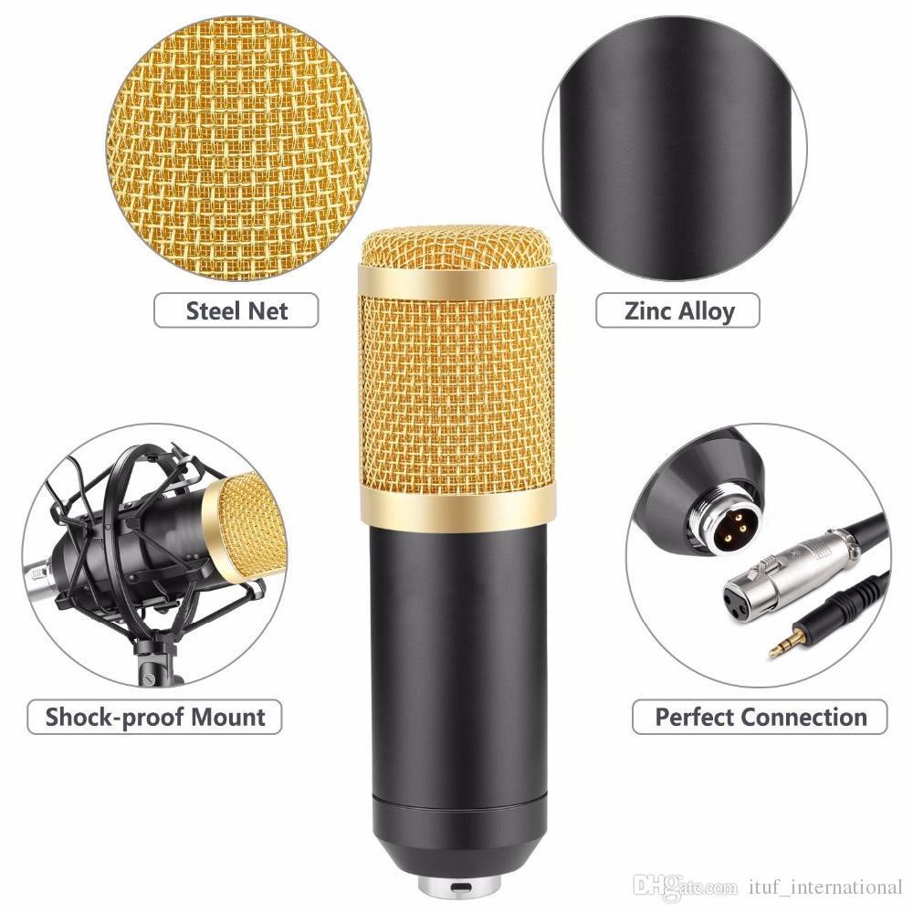 Ituf BM-800 Professional Studio Broadcasting Recording Set Condenser Microphone Ball-type Anti-wind Foam Cap Power Cable Black