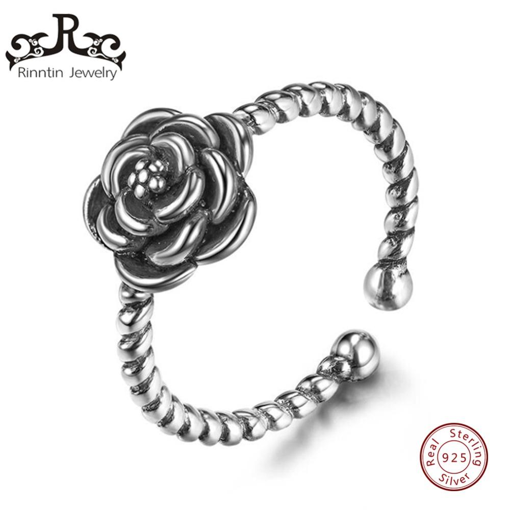 22e4153f05bf50 2019 Rinntin Real 925 Sterling Silver Vintage Women Rings Elegant Rose Shape  Adjustable Party Ring Silver Jewelry Wholesale TPSR55 From Lovesongs, ...