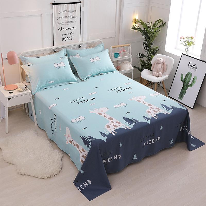 2019 Cartoon Cotton Printing Bedding Flat Sheet Bed Linens Single