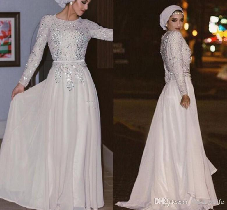 2018 Silver Sequins Muslim Evening Dresses Long Sleeves Crystal Beaded  Chiffon Floor Length Shinning Arabic Abaya White Prom Dress Maternity Evening  Dresses ... 10f1d38f7abb